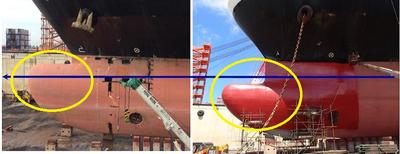 Remodeling of the ship's bulbous bow (Left:Before remodeling)(Right:After remodeling)