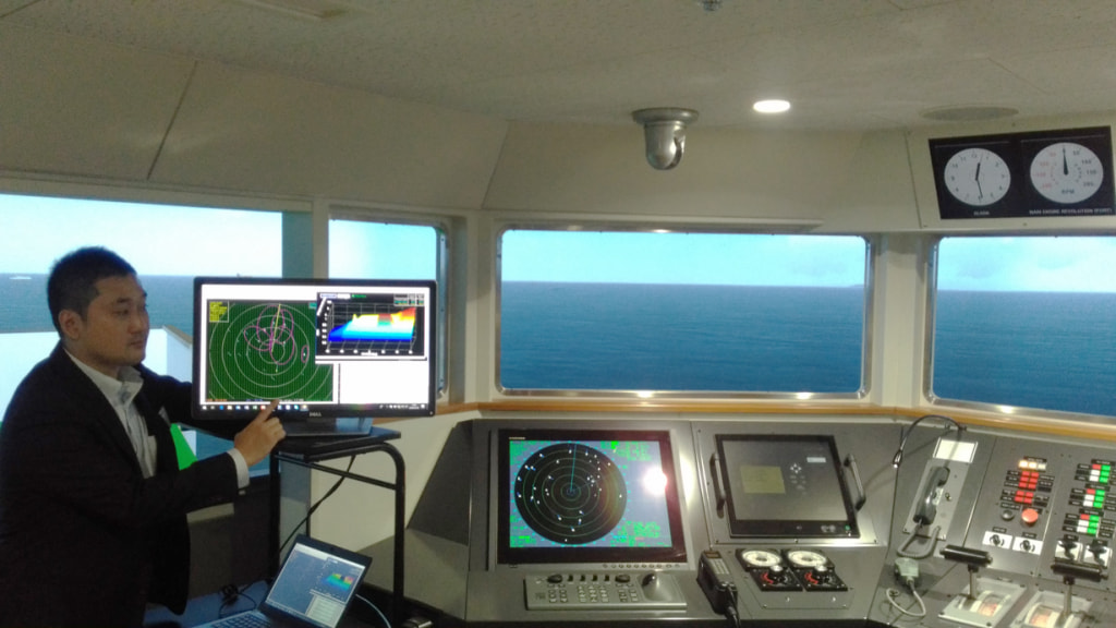 A demonstration of the Automatic collision avoidance system (b) using JMS's vessel handling simulator