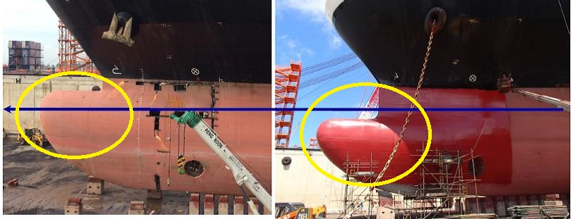 Remodeling of the ship's bulbous bow