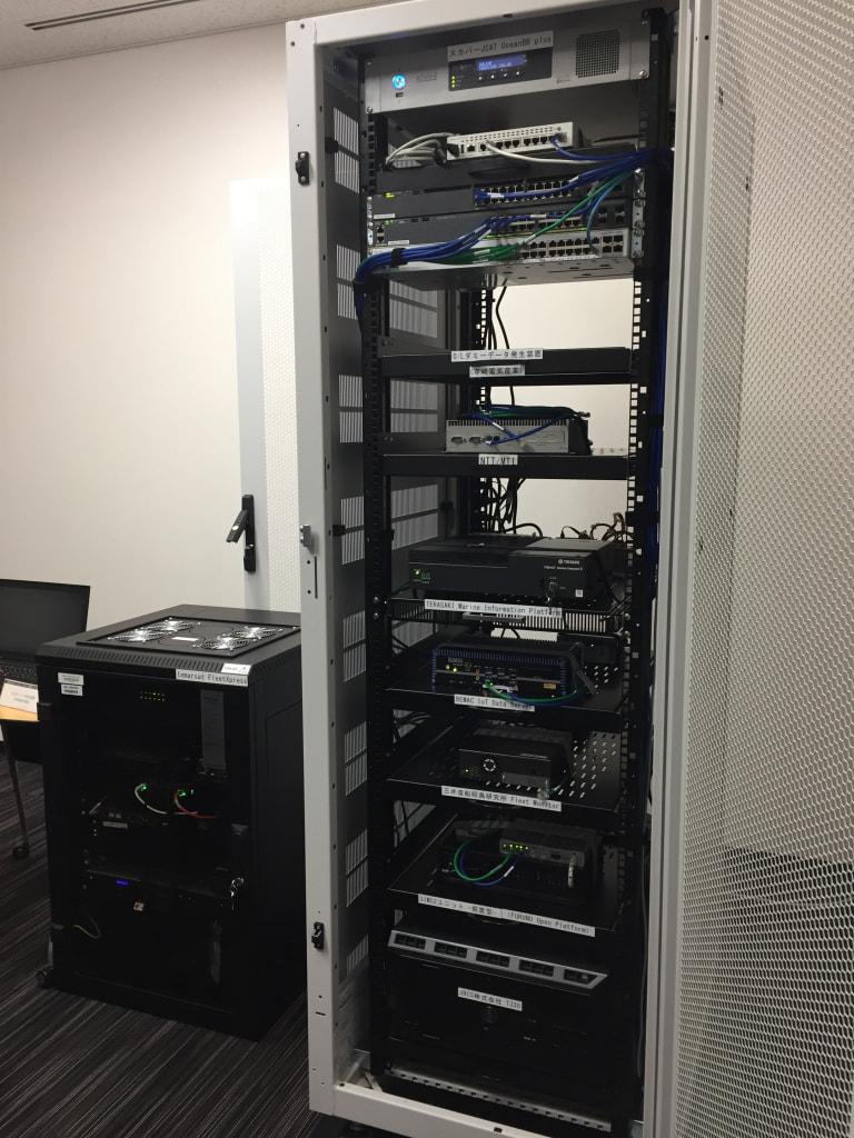左: 衛星通信装置右: 衛星通信装置とコンソーシアム各社のデータ収集装置